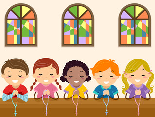 Stickman Kids Pray Rosary Church Illustration