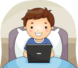 Kid Boy Bed Laptop Illustration
