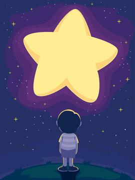 Kid Boy Big Star Night Sky Illustration