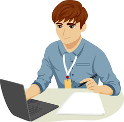 Teen Boy Intern Laptop Illustration