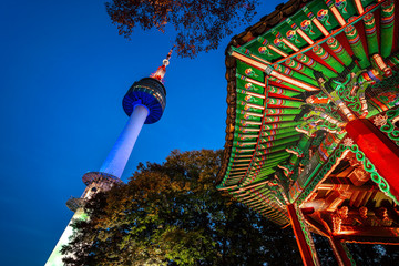 Photo sur cadre textile Seoul Namsan Park and N Seoul Tower at Night in Seoul,South Korea.