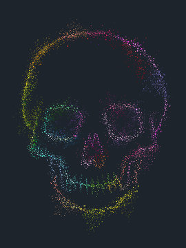 Pointillism Rainbow Skull Illustration