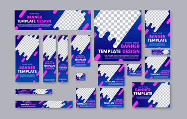 Wall Mural - Set of vector web banners with blue gradients, pink design elements and place for photo.