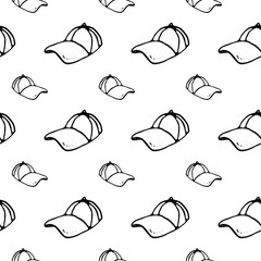 Seamless pattern hand drawn cap. Doodle black sketch. Sign symbol. Decoration element. Isolated on white background. Flat design. Vector illustration