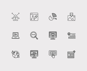Search icons set. PPC and search icons with image optimization, social share and online support. Set of person for web app logo UI design.
