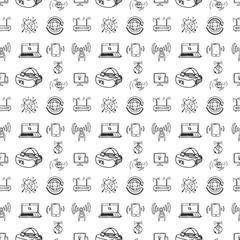 Seamless pattern hand drawn technologies set. Doodle black sketch. Sign symbol. Decoration element. Isolated on white background. Flat design. Vector illustration