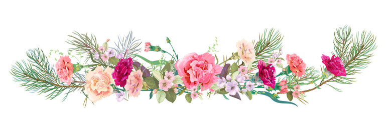 Panoramic view: bouquet of carnation schabaud, spring blossom, pine branches. Horizontal border: red, pink flowers on white background. Digital draw illustration in watercolor style, vintage, vector
