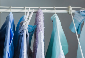 Clothes left hanging to dry on a clotheshorse