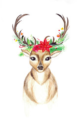 watecolor christmas reindeer with horns decorated with christmas plants and flowers