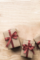 gifts box and copy space flat lay for holiday season