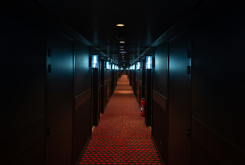 A long, dark hallway with many doors and lights.