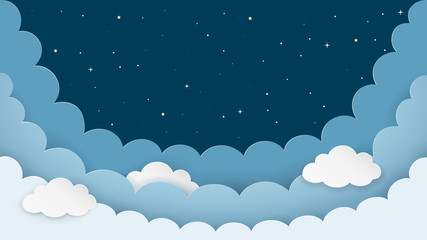 Night sky background with clouds and stars. Dark night cloudscape backdrop with copy-space. Cartoon paper art style. Vector Illustration.