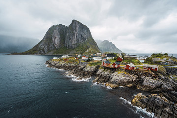 Norway, Lofoten, remote houses at rocky coast
