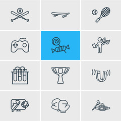 Vector illustration of 12 entertainment icons line style. Editable set of candy, boxing, award cup icon elements.