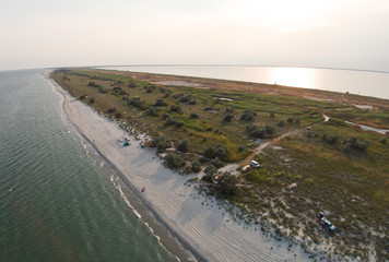 Aerial view of the spit that separates the sea and estuary