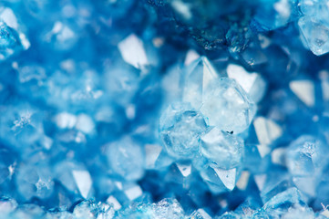 Beautiful texture of Blue crystals. mineral its blurred natural background. Winter Beautiful background.Macro closeup.