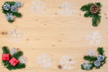 Christmas theme background, Christmas with copy space, holiday background with decorations