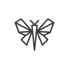 Butterfly origami vector icon