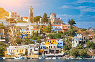 Beautiful summers day on the Greek island of Symi in the Dodecanese Greece Europe Wall mural
