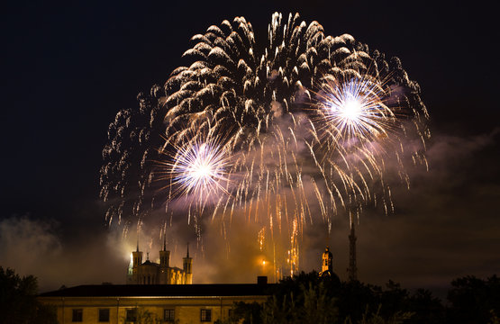 Fireworks at Cathedral Fourviere in Lyon on the french National Day July 14, Bastille day.