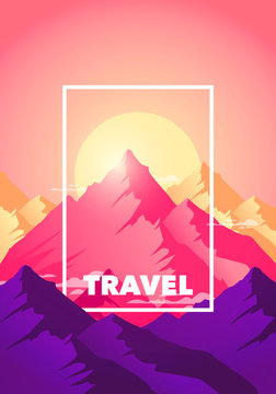 Vector illustration flat travel adventure climb to the top of the mountain poster. Silhouette nature mountains in morning and evening sun in modern colors.
