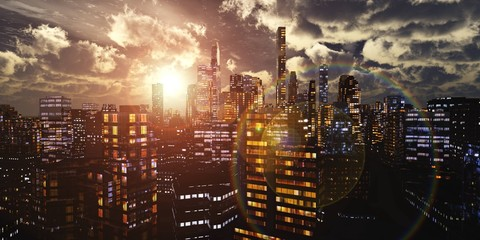 Wall Mural - Modern city at sunset, panorama of the evening city, night city