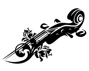 violin or cello neck and rose flowers - string musical instrument black vector design