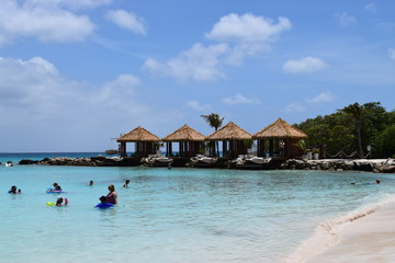 Panorama of Aruba beach and seaside, romantic view of an idyllic Caribbean island perfect for honeymoon and romantic holidays