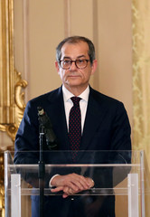 Italian Economy Minister Giovanni Tria looks on before a joint news conference with Eurogroup President Mario Centeno at the Treasury ministry in Rome