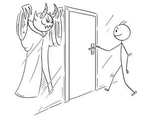 Cartoon stick drawing conceptual illustration of man who is ready to open door, but there is evil, demon or monster hidden and waiting behind the door.