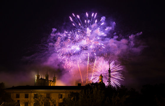 Fireworks at Cathedral Fourviere in Lyon on the french National Day at July 14, Bastille day.