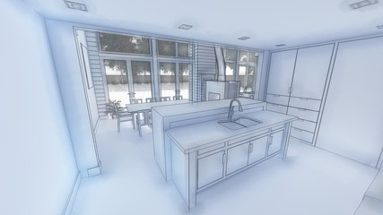3d illustration of living room and kitchen interior design. 3d rendering.