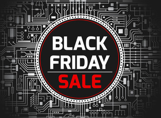 Black friday chipset background. Futuristic chipset technology sales banner. Vector black and white horizontal illustration.