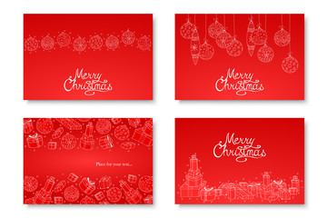 Collection of vector beautiful hand drawn Merry Christmas cards. Winter holiday red backgrounds with calligraphy Wall mural