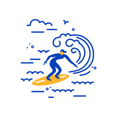 Surfing logo design. Surfer and big wave. Flat and line style vector illustration.