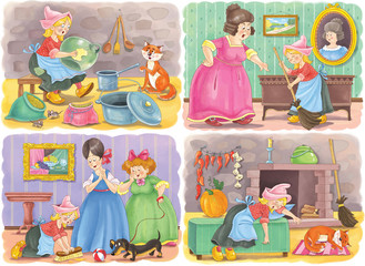 Cinderella. Fairy tale. Coloring page. Illustration for children. Cute and funny cartoon characters