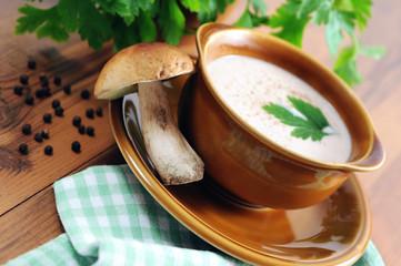 king bolete mushroom cream soup in bowl with fresh parsley