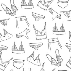 Hand drawn graphic lingerie. Vector seamless pattern