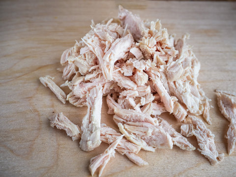 Chopped boiled chicken. Salad blanks.