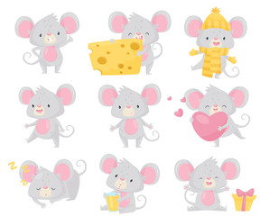 Flat vector set of little mouse in different situations. Small rodent with big ears and long tail. Cute cartoon character