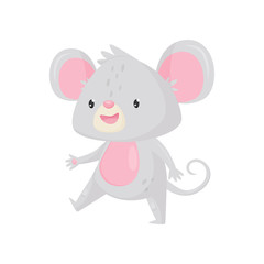 Cute mouse walking with happy face. Funny gray rodent with pink belly, big ears and long tail. Flat vector icon