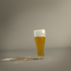glass of beer on a background