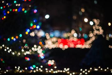 Christmas tree city bokeh