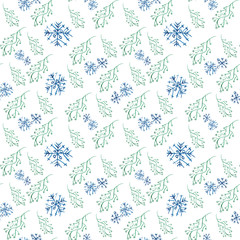 Seamless Christmas pattern with branches and snowflakes. Watercolor illustration on white background