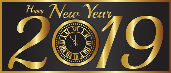 New Year-2019 Gold Clock Over a Black Background