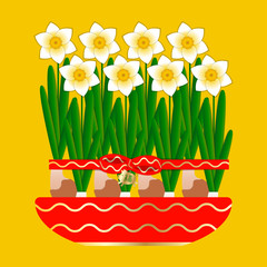 Chinese New Year. 8 narcissus bloom in a ceramic pot. Tied with a red ribbon with a bow. Pendant pig with a sign Fu character - means luck. Yellow background.