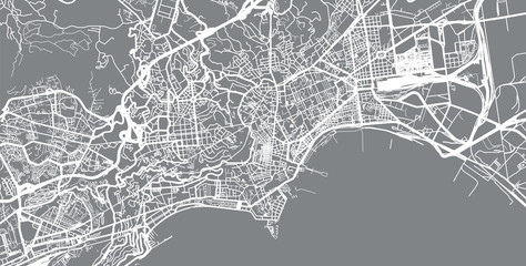 Urban vector city map of Naples, Italy