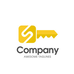 creative gold key color with letter s logo vector concept