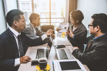 Corporate business team people meeting good teamwork in office. Teamwork successful Meeting Workplace strategy Concept.