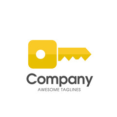 creative square key logo with modern gold color vector